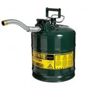 Bidones para inflamables Justrite 7250430 (Ex 10867E/10826) de dos bocas y manguera Tipo II AccuFlow™ - 19 lts - Color verde para Aceite