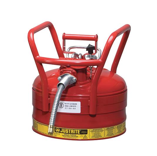 Bidones para inflamables Justrite D.O.T. Tipo II con manguera - 9 litros - Color rojo