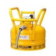 Líquidos inflamables - Bidones para inflamables Justrite 7325220 D.O.T. Tipo II con manguera - 9 litros - Color amarillo
