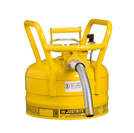Bidones Justrite de Seguridad - Bidones para inflamables Justrite 7325230 D.O.T. Tipo II con manguera - 9 litros - Color amarillo