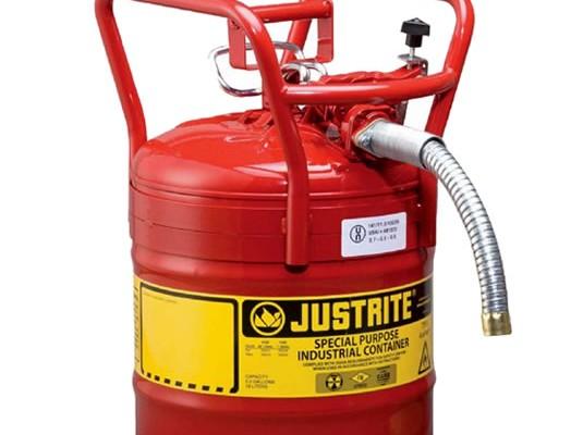 Identificación de Materiales Peligrosos - Bidones para inflamables Justrite 7350130 (Ex 10840) D.O.T. Tipo II con manguera - 19 litros - Color rojo