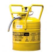 Bidones Justrite de Seguridad - Bidones para inflamables Justrite 7350210 D.O.T. Tipo II con manguera - 19 litros - Color amarillo