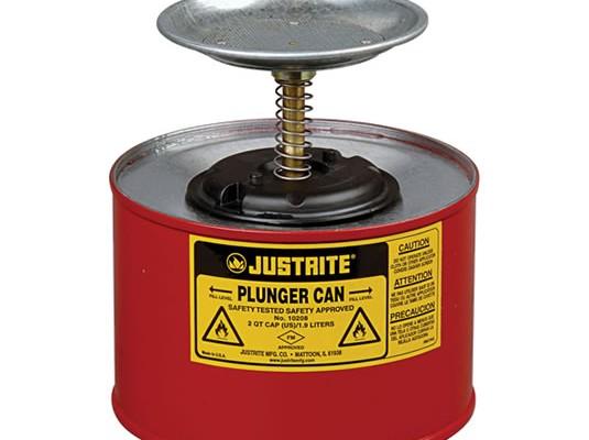 Justrite Recipiente de Seguridad para limpieza y surtido - Humectadores de seguridad con pistón Justrite 10208 - 2 litro - Color rojo