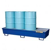 Pallets antiderrames Justrite 28612 de acero para 4 tambores - Color azul