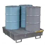 Pallets antiderrames Justrite 28615 de acero para 4 tambores - Galvanizado