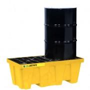 Plataforma Justrite EcoPolyBlend™ - Pallets antiderrames Justrite 28622 (Ex28234) EcoPolyBlend para 2 tambores en línea sin drenaje - Color amarillo - 1245 x 635 x 457 mm