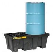 Pallets antiderrames Justrite 28623 (Ex28234) EcoPolyBlend para 2 tambores en línea sin drenaje - Color negro - 1245 x 635 x 457 mm