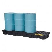Pallets antiderrames Justrite EcoPolyBlend para 4 tambores en línea - Color negro - 2464 x 635 x 229 mm