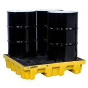 Pallets antiderrames Justrite EcoPolyBlend para 4 tambores en cuadro - Color amarillo - 1245 x 1245 x 260 mm
