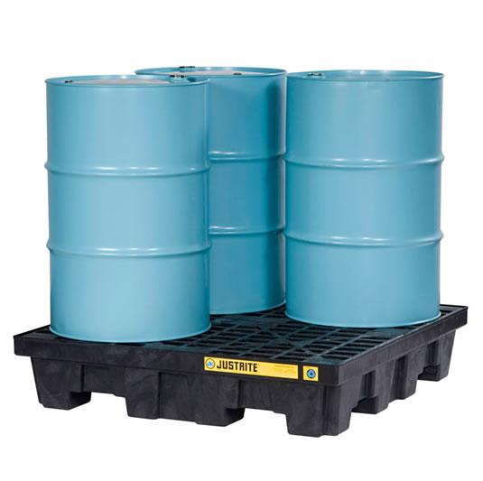 Pallets antiderrames Justrite EcoPolyBlend para 4 tambores en cuadro - Color negro - 1245 x 1245 x 260 mm