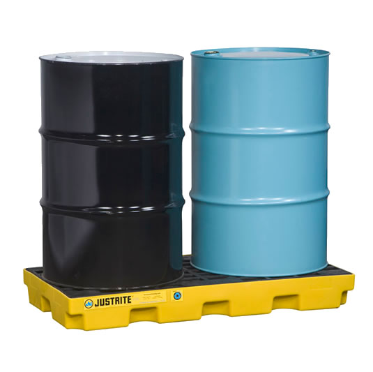 Plataformas para control de derrames Justrite EcoPolyBlend™ - Centros de acumulación Justrite 28654 (Ex 28922) EcoPolyBlend™ para 2 tambores - Color amarillo