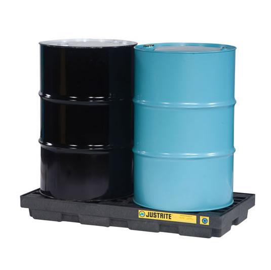 Centros de acumulación Justrite 28655 (Ex 28922) EcoPolyBlend™ para 2 tambores - Color negro