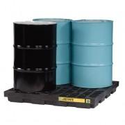 Centros de acumulación Justrite 28657 (Ex 28923) EcoPolyBlend™ para 4 tambores - Color negro