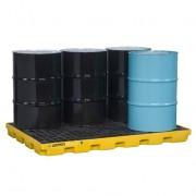 Centros de acumulación Justrite 28658 (Ex 28924) EcoPolyBlend™ para 6 tambores - Color amarillo