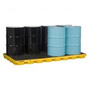 Centros de acumulación Justrite 28660 (Ex AK28905) EcoPolyBlend™ para 8 tambores - Color amarillo
