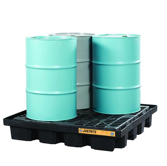 Pallets antiderrame para cobertizo Justrite 28673 EcoPolyBlend™ DrumSheds™ para almacenar 4 tambores