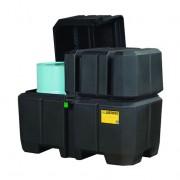 Centros colectores Justrite 28683 (ex 28250) EcoPolyBlend™ con tapa - Para 2 tambores - Color negro
