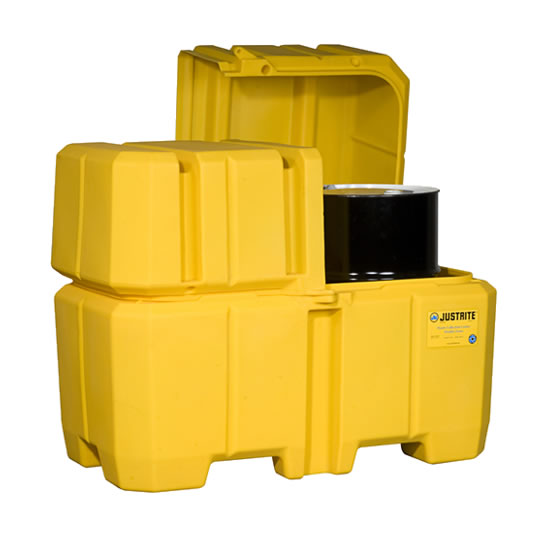 Centros colectores Justrite 28684 (Ex 28250) EcoPolyBlend™ con tapa - Para 2 tambores - Color amarillo