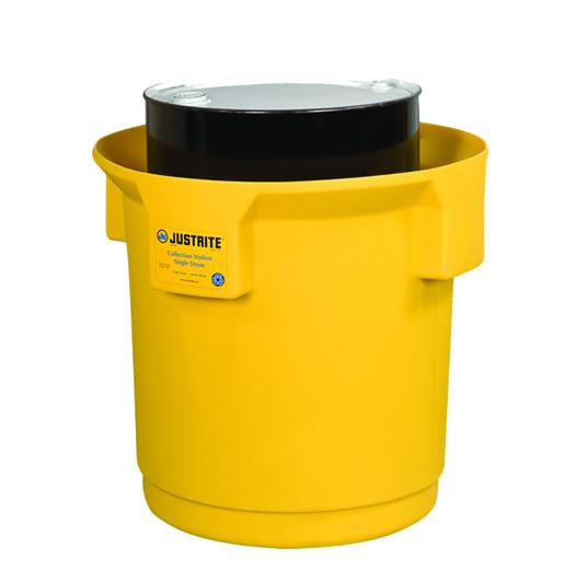 Centros colectores Justrite 28686 (Ex 28268) EcoPolyBlend™ con tapa - Para 1 tambores - Color amarillo